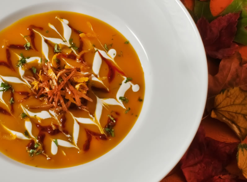 Red Kuri Squash & Orange Soup with Cinnamon Harissa