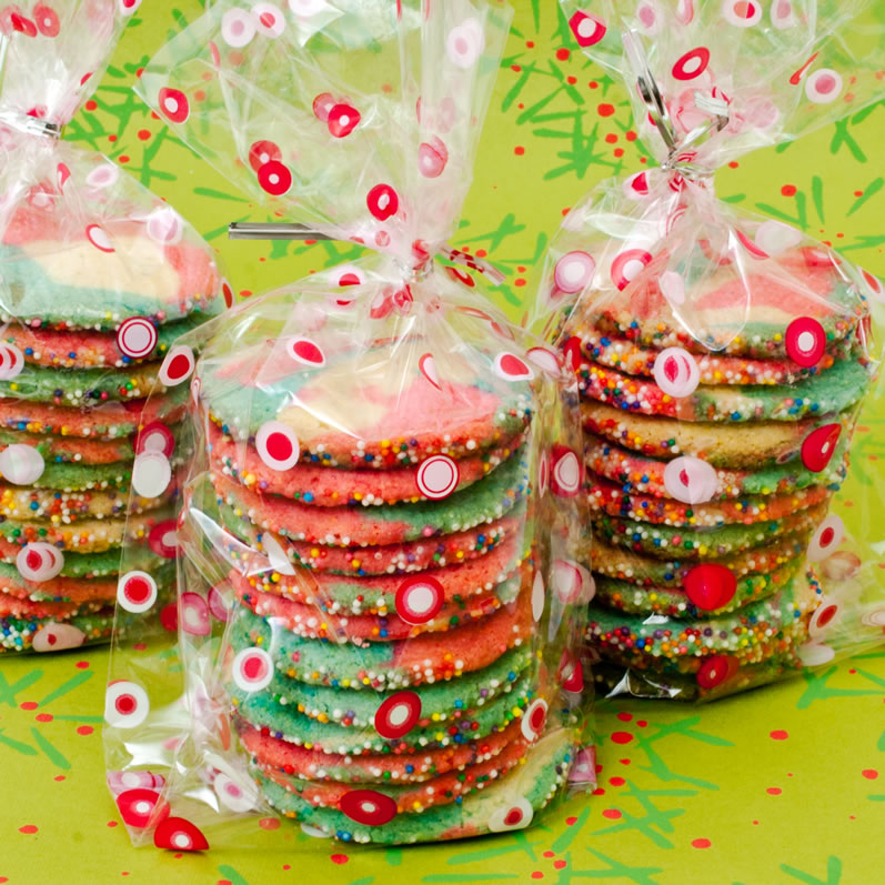 Gift Bags of Peppermint Lime Kaleidoscope Cookies