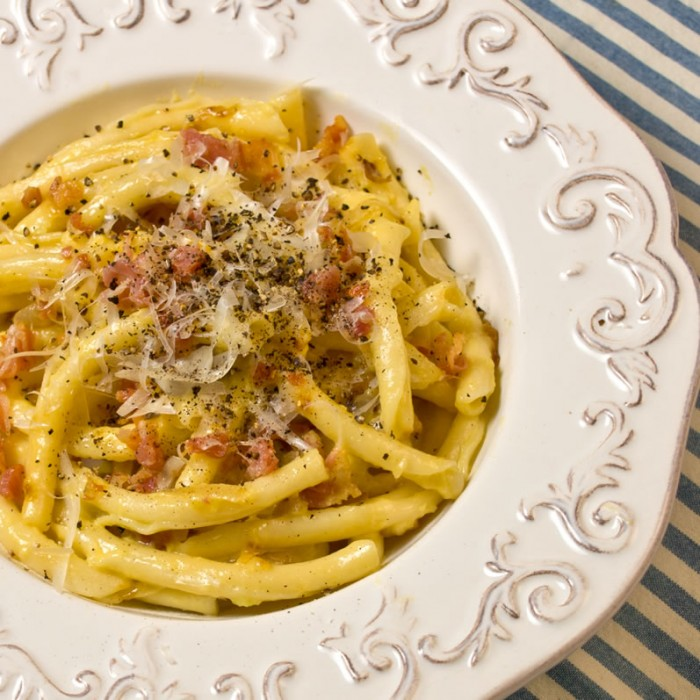 Pasta Carbonara with Strozzapreti Pasta