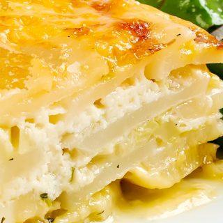 Potato Gratin with Ricotta, Pancetta & Melted Leeks | LunaCafe