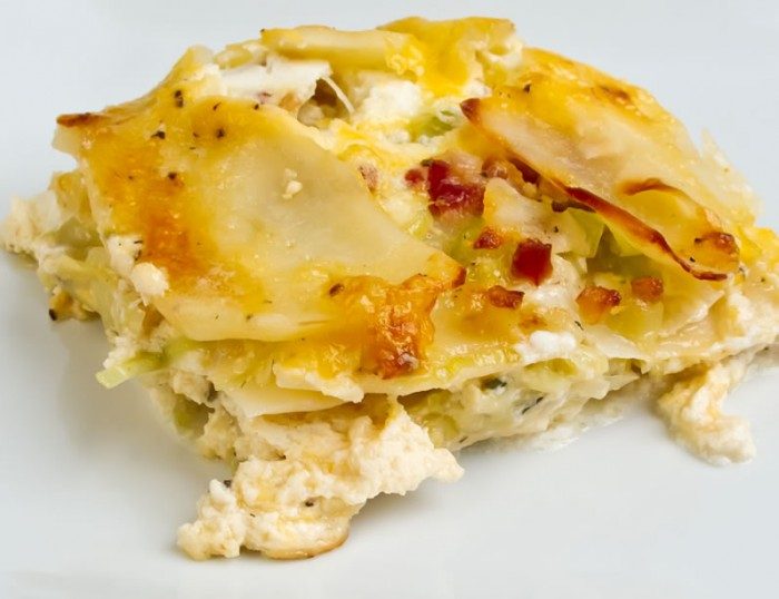 Potato Gratin with Ricotta, Pancetta and Melted Leeks (2)