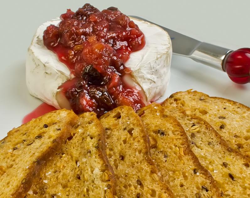 Fresh Rhubarb Roundup: Bread Crisps with Wheel of Chevre Brie & Spiced Rhubarb Chutney
