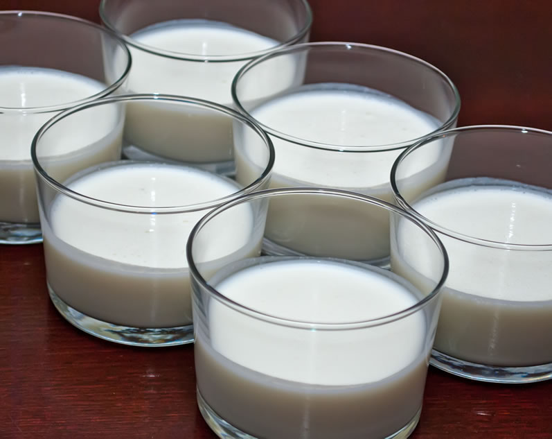 Sour Cream Panna Cotta in Serving Glasses, Ready to Chill