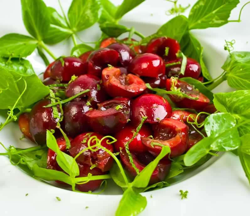 Sweet Cherry & Pea Vine Salad with Basil & Mint