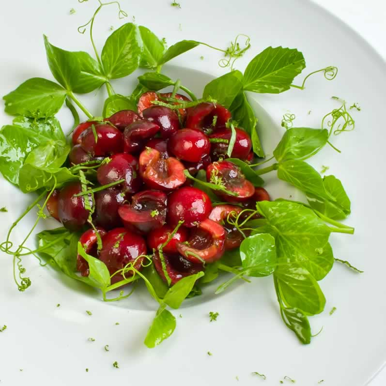 Bing Cherry & Pea Vine Salad with Lime Vinaigrette