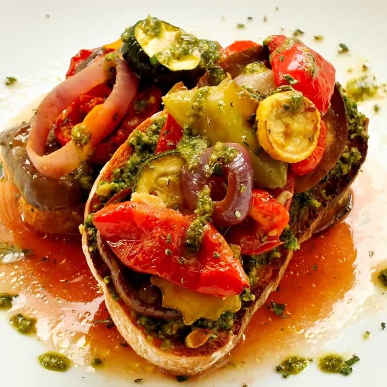 Crostone with Basil Mint Pesto & Roasted Ratatouille | LunaCafe