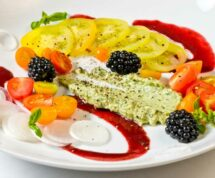 Summer Tomato, Sweet Onion, & Blackberry Salad with Basil Mint Crema   LunaCafe