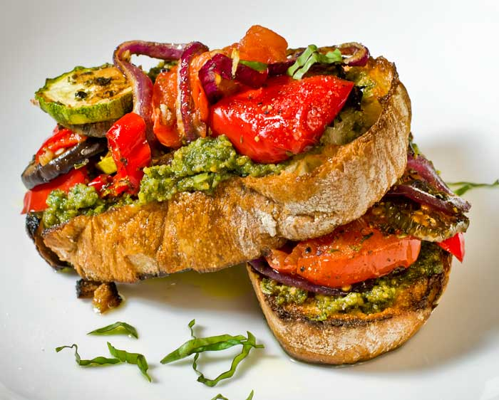 Crostone with Basil Mint Pesto & Roasted Ratatouille | LunaCafe