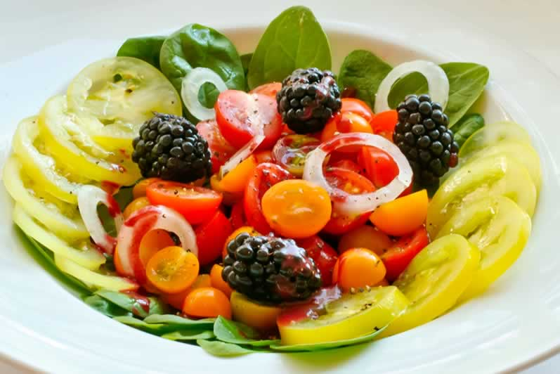 Summer Tomato, Sweet Onion, & Blackberry Salad with Basil Mint Crema