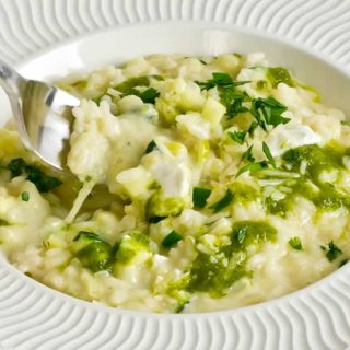 Risotto of Sweet Corn with Corn Coulis, Zucchini, Chevre & Green Chile Oil