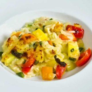 Fennel, Bell Pepper & Summer Squash Creamy Rice Tian | LunaCafe