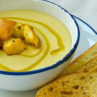 Creamy Cauliflower Leek Soup with Curried Mustard Croutons