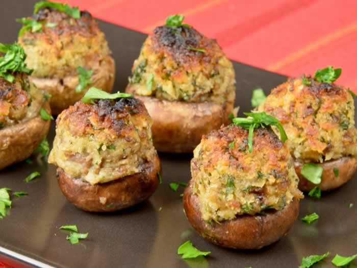 Spicy Sausage & Fresh Herb-Stuffed Crimini Mushrooms