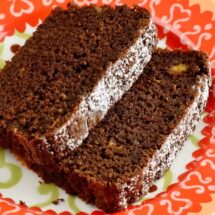 Close Up of Spicy Chocolate, Banana & Fresh Ginger Tea Loaf