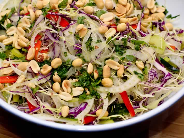 abbage Slaw with Fresh Ginger, Garam Masala & Roasted Peanuts Ready for Dressing