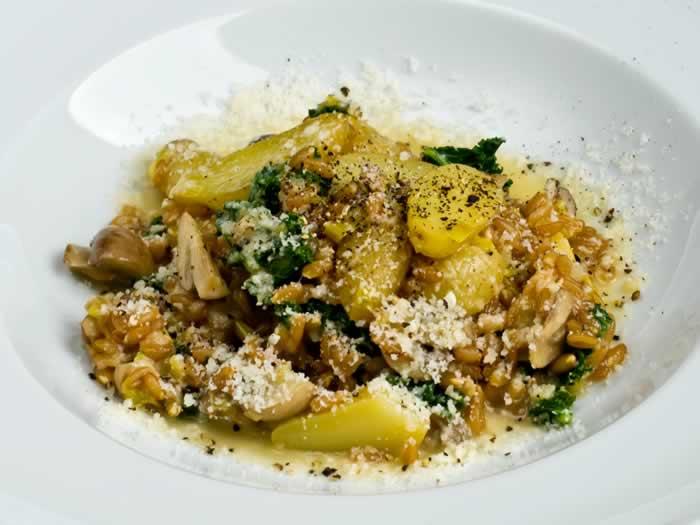 Farro, Wild Mushroom, Fingerling Potato & Kale Risotto (Farrotto)