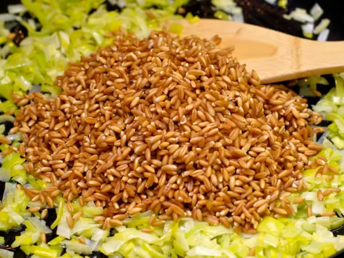 Hydrated Farro and Leeks in Saute Pan
