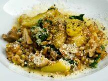 Farro, Wild Mushroom, Fingerling Potato & Kale Risotto (Farrotto) Closeup