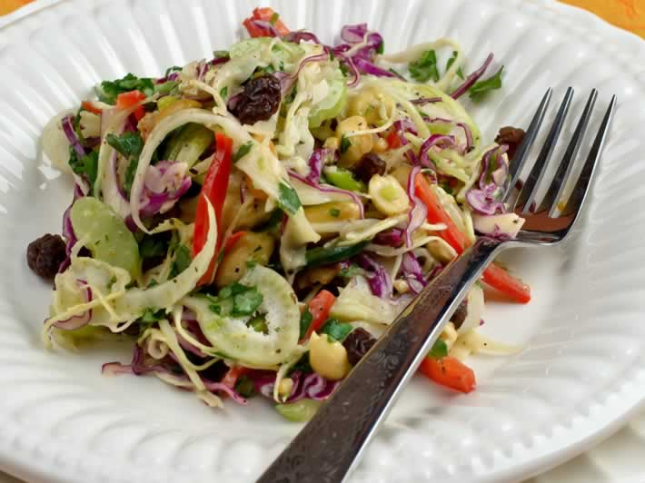Serving of Cabbage Slaw with Fresh Ginger, Garam Masala & Roasted Peanuts