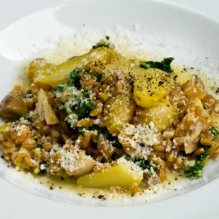 Farro, Wild Mushroom, Fingerling Potato & Kale Risotto