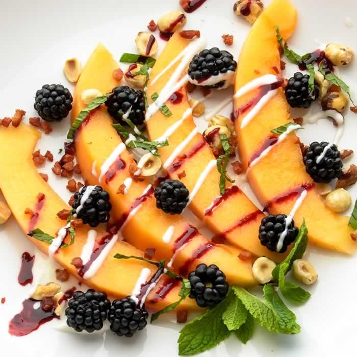 Tuscan Melon & Blackberry Salad with Yogurt Chevre Dressing ...