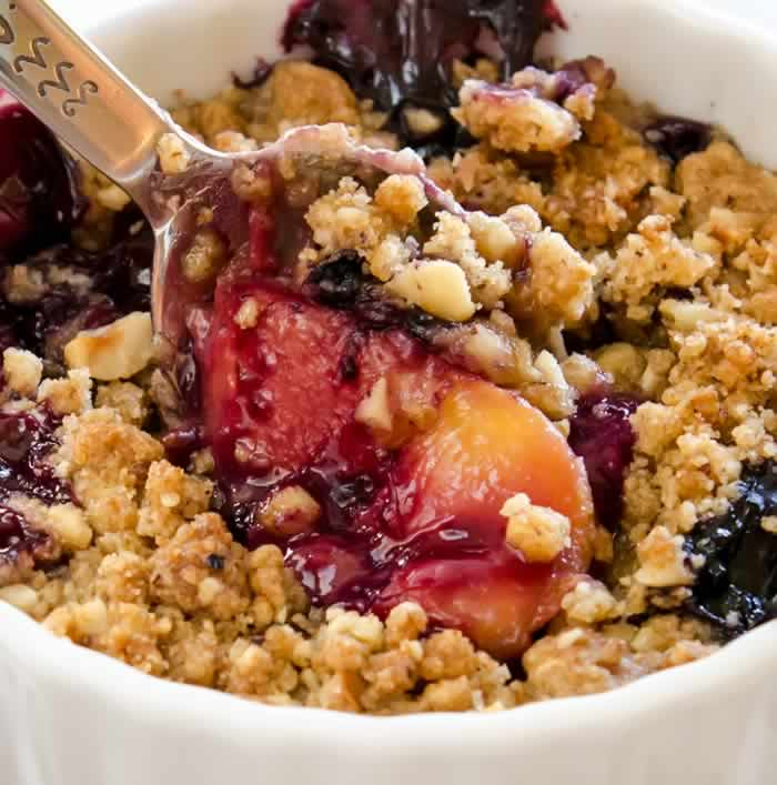Ginger-Lime Peach & Blueberry Crisp with Toasted Hazelnut Streusel ...