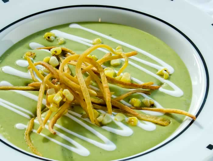 Roasted Green Chile Soup with Mexican Crema, Frizzled Tortillas & Charred Sweet Corn | LunaCafe