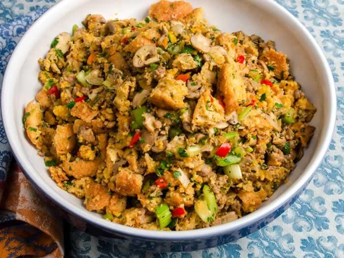 Spicy Ciabatta & Cornbread Stuffing with Italian Sausage, Wild Mushrooms & Fresh Herbs | LunaCafe