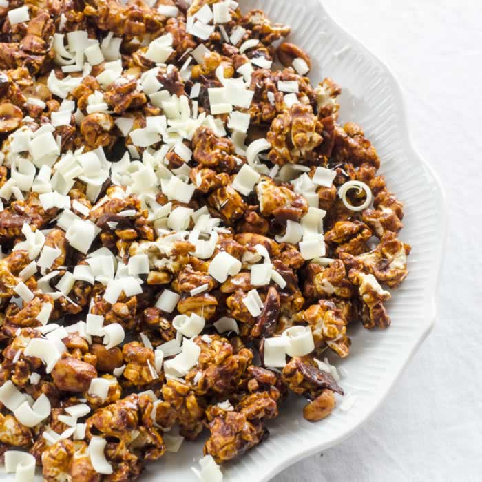 Adding Grated White Chocolate to Chocolate Chipotle Spice Cracker Jacks