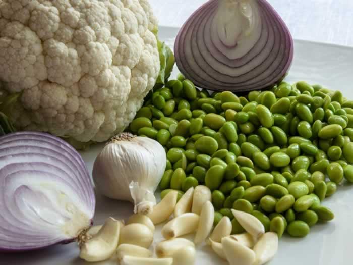 Ingredients for Warm Cauliflower, Edamame & Raisin Salad