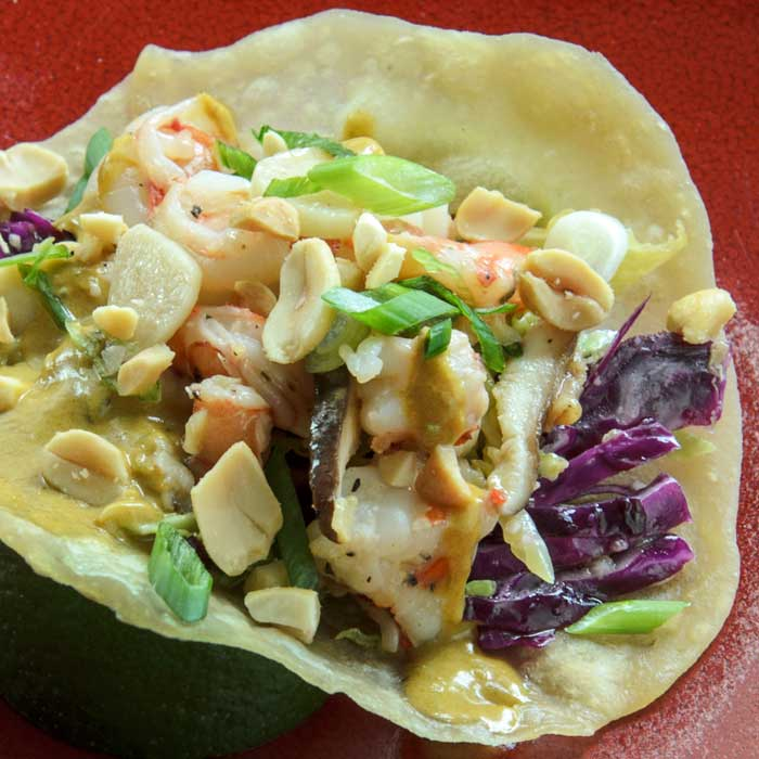 Asian Taco with Prawn & Shiitake Filling & Cabbage Slaw