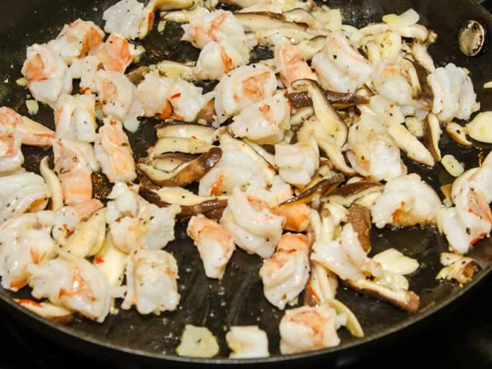 Stir-Frying Shrimp and Mushrooms for Asian Tacos