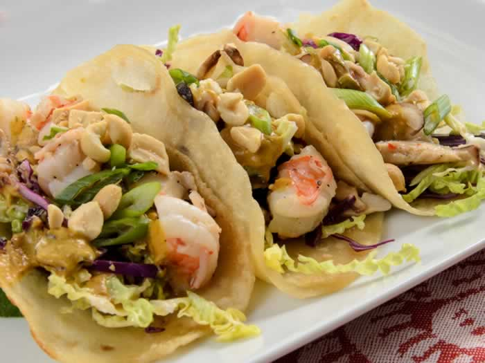 Asian Tacos with Prawn & Shiitake Filling & Cabbage Slaw