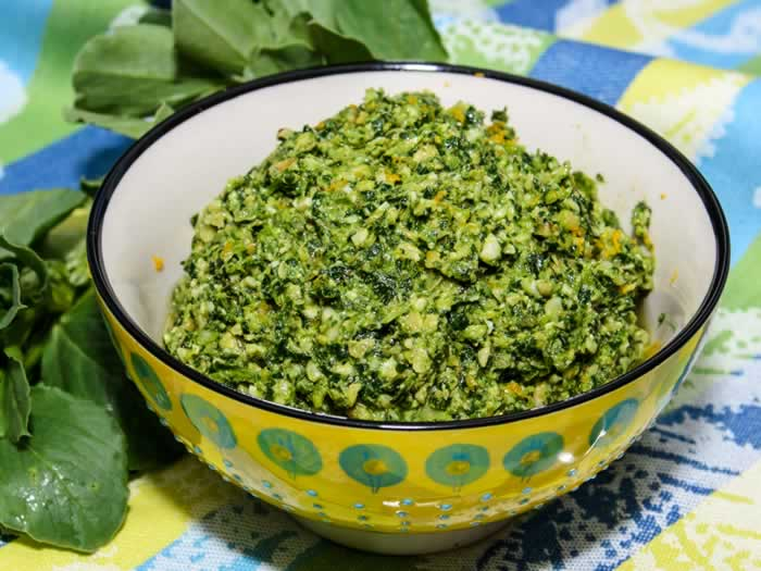 Fava Bean Greens, Walnut & Orange Pesto | LunaCafe