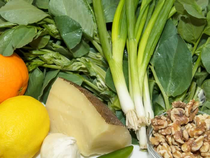 Ingredients for Fava Bean Greens, Walnut & Orange Pesto