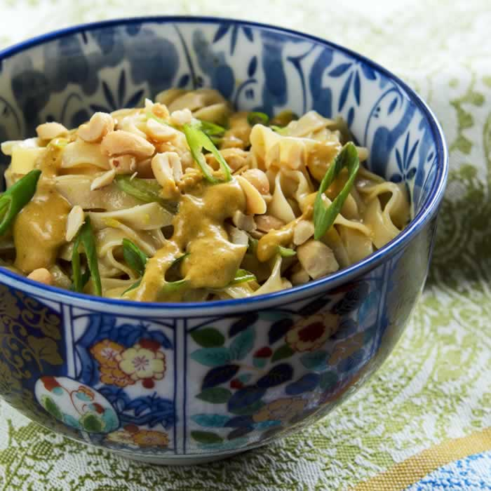 Spicy Thai Peanut Sauce on Noodles