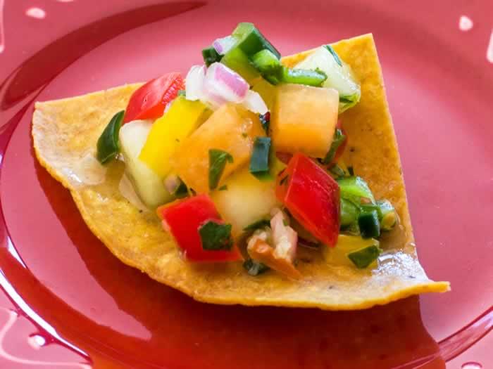 Melon & Pepper Pico de Gallo Closeup