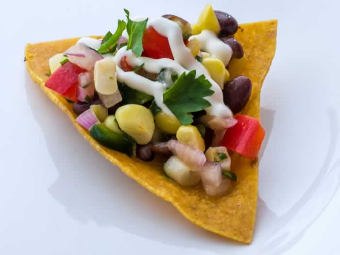 Sweet Corn & Black Bean Salsa on Home-Fried Corn Tortilla Chip