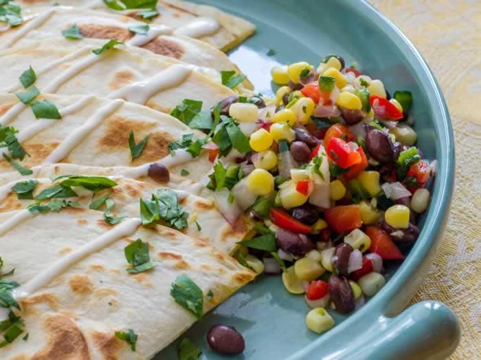 Sweet Corn & Black Bean Salsa with Smoked Cheddar Quesadillas