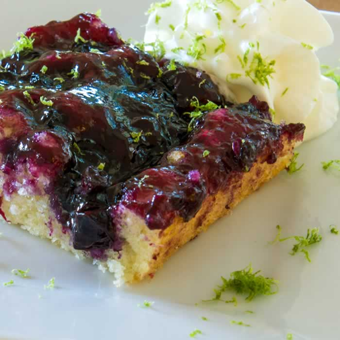Caramel-Lime Blueberry Pudding Cake Recipe | LunaCafe
