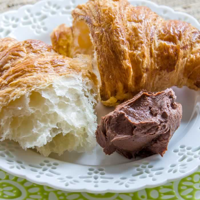 Croissant with Easy Homemade Nutella (Hazelnut Butter & Chocolate Ganache Spread)