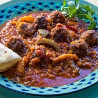 Moroccan Kefta Tagine (Spicy Meatballs & Tunisian Tomato Sauce)