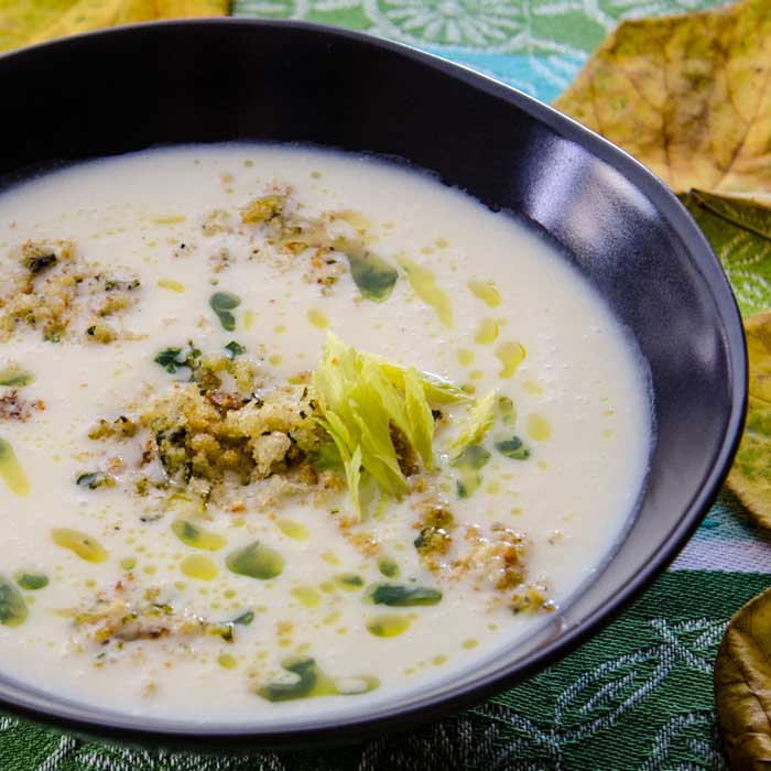 Triple Celery Soup with Parmesan, Parsley & Garlic Croutons & Parsley Oil