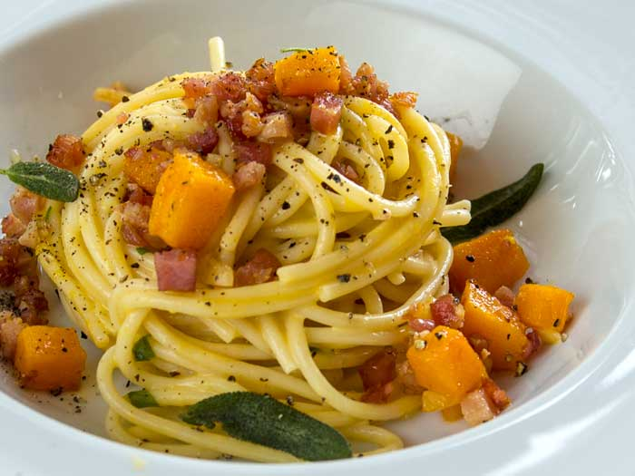 Pumpkin Carbonara with Caramelized Pumpkin & Frizzled Sage