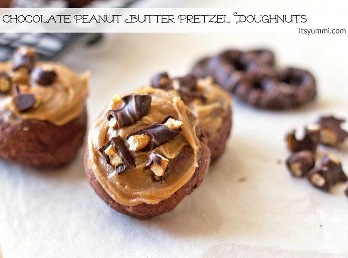 Chocolate Peanut Butter Pretzel Doughnuts | ItsYummi
