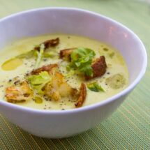 Curried Celery Soup with Green Apple, Coconut & Lime