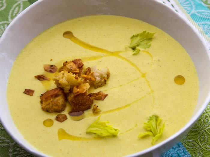 Curried Celery Soup with Green Apple, Coconut & Lime with Coconut ...