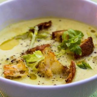 Curried Celery Soup with Green Apple, Coconut & Lime 8