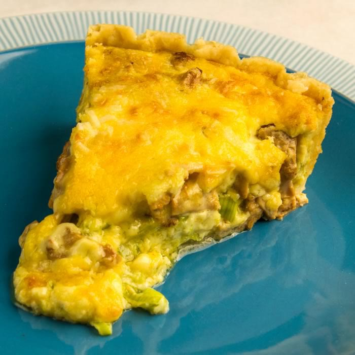 Hedgehog Mushroom, Leek, Cheddar & Rosemary Tart | LunaCafe