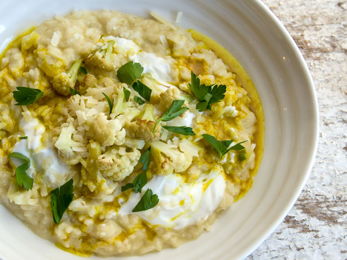 Mororoccan Style Risotto with Roasted Cauliflower and Green Garlic 1
